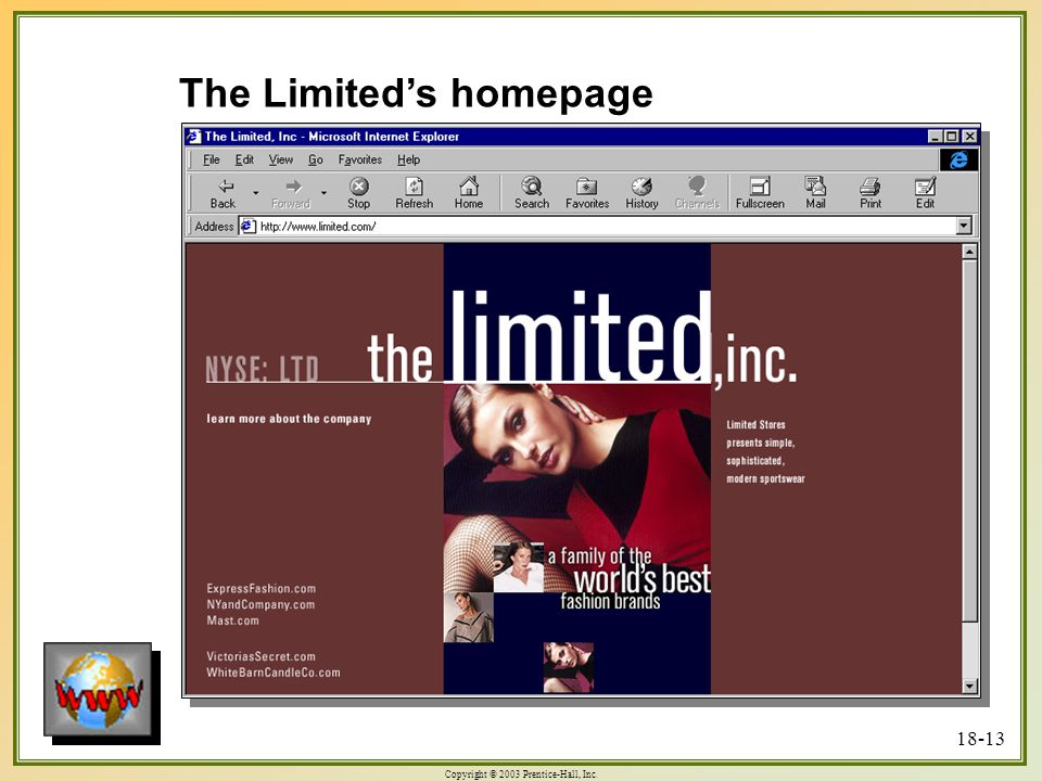 Copyright © 2003 Prentice-Hall, Inc. 18-13 The Limited's homepage