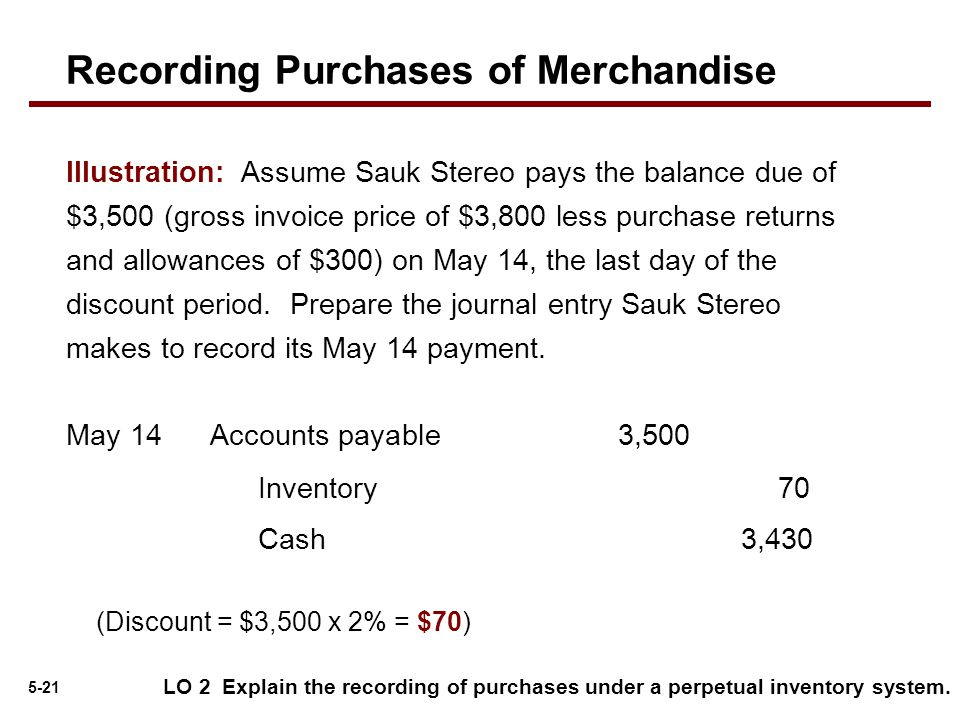 5-21 Accounts payable3,500May 14 Cash 3,430 Inventory 70 (Discount = $3,500 x 2% = $70) LO 2 Explain the recording of purchases under a perpetual inve