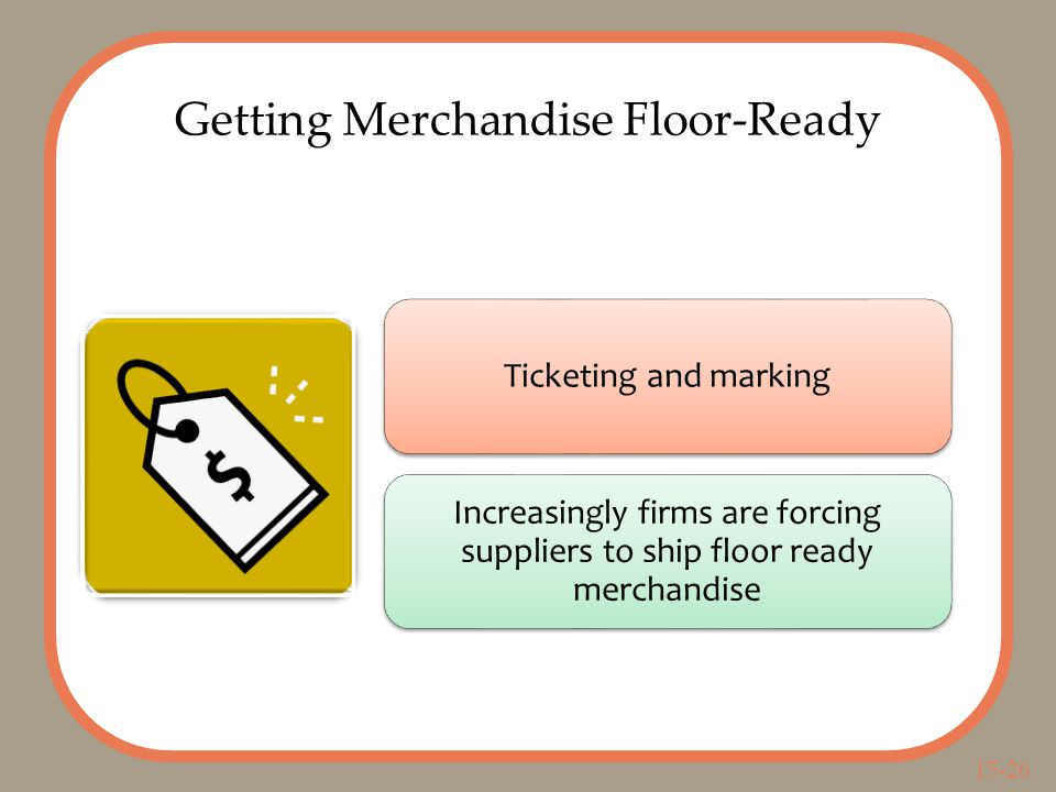 15-26 Getting Merchandise Floor-Ready Ticketing and marking Increasingly firms are forcing suppliers to ship floor ready merchandise