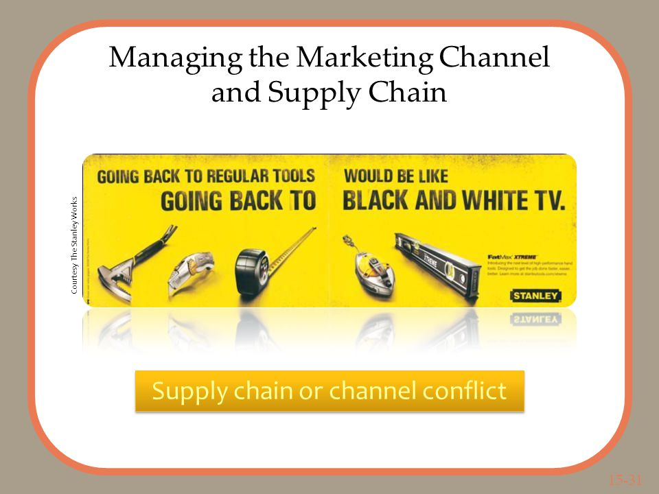 15-31 Managing the Marketing Channel and Supply Chain Supply chain or channel conflict Courtesy The Stanley Works