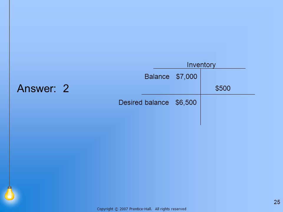 Copyright © 2007 Prentice-Hall. All rights reserved 25 Answer: 2 Inventory Balance $7,000 Desired balance $6,500 $500