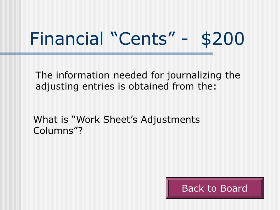 """Financial """"Cents"""" - $100 A net income results when. What is """"Total revenue is greater than expenses""""? Back to Board"""
