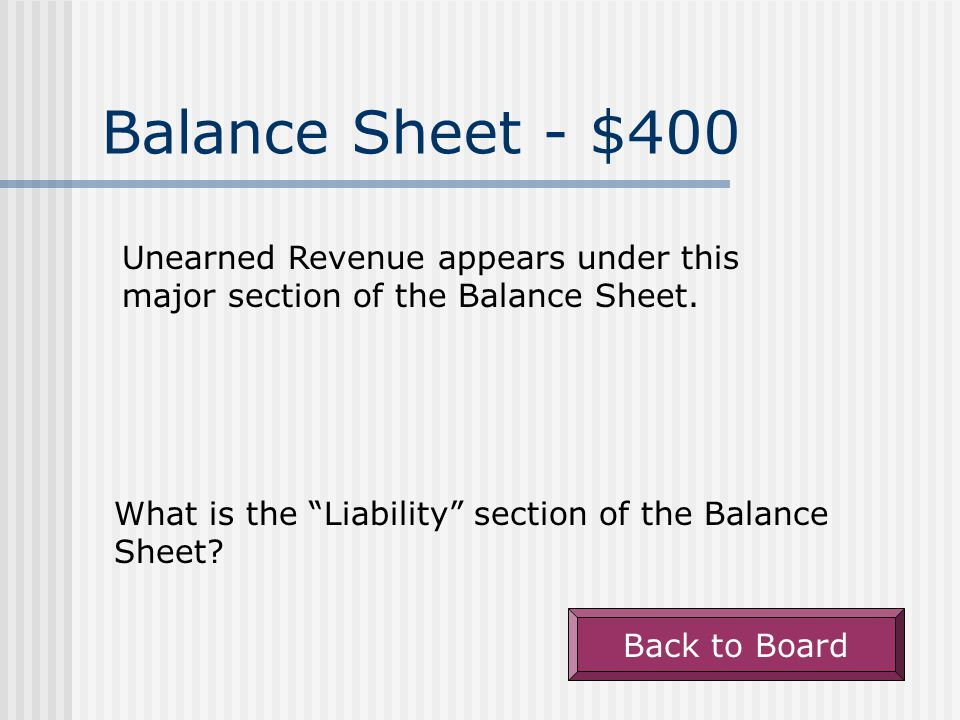 """Balance Sheet $300 Warranty Obligations appears under this major section of the Balance Sheet. What is the """"Liabilities"""" section of the Balance Sheet?"""