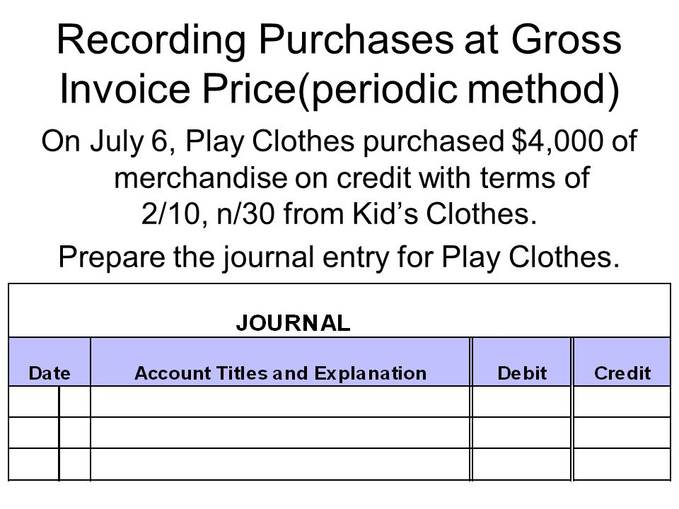 Recording Purchases at Gross Invoice Price(periodic method) On July 6, Play Clothes purchased $4,000 of merchandise on credit with terms of 2/10, n/30 from Kid's Clothes.
