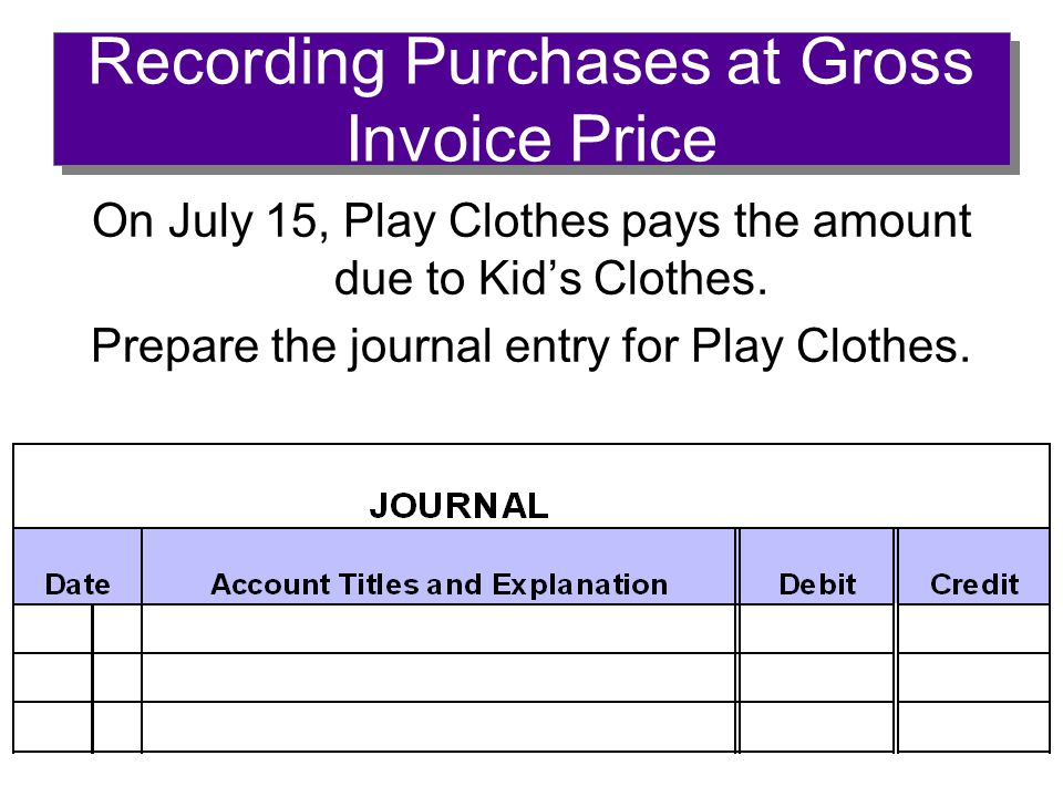 Recording Purchases at Gross Invoice Price On July 15, Play Clothes pays the amount due to Kid's Clothes.