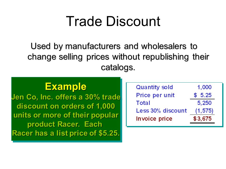 Trade Discount Example Jen Co, Inc. offers a 30% trade discount on orders of 1,000 units or more of their popular product Racer. Each Racer has a list