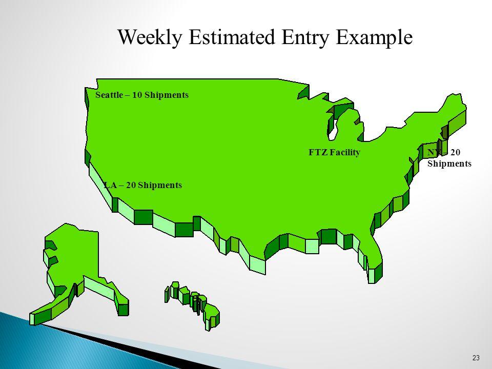 23 LA – 20 Shipments Seattle – 10 Shipments NY – 20 Shipments Weekly Estimated Entry Example FTZ Facility