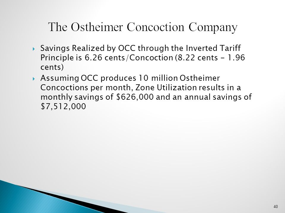  Savings Realized by OCC through the Inverted Tariff Principle is 6.26 cents/Concoction (8.22 cents - 1.96 cents)  Assuming OCC produces 10 million