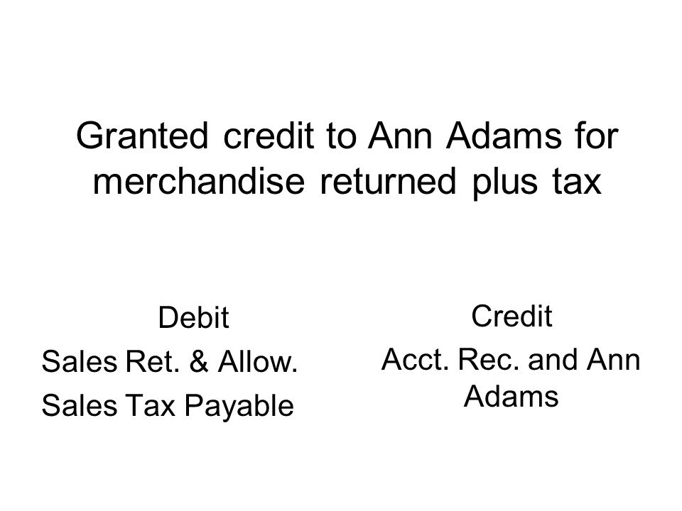 Granted credit to Ann Adams for merchandise returned plus tax Debit Sales Ret.