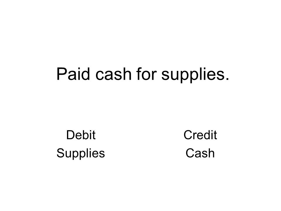 Paid cash for supplies. Debit Supplies Credit Cash