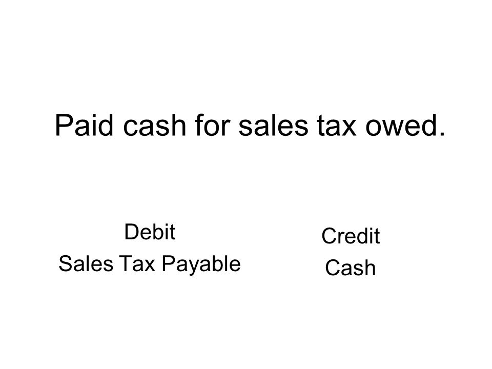 Paid cash for sales tax owed. Debit Sales Tax Payable Credit Cash