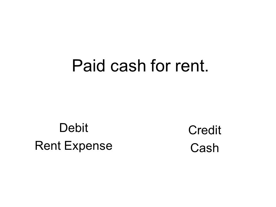 Paid cash for rent. Debit Rent Expense Credit Cash