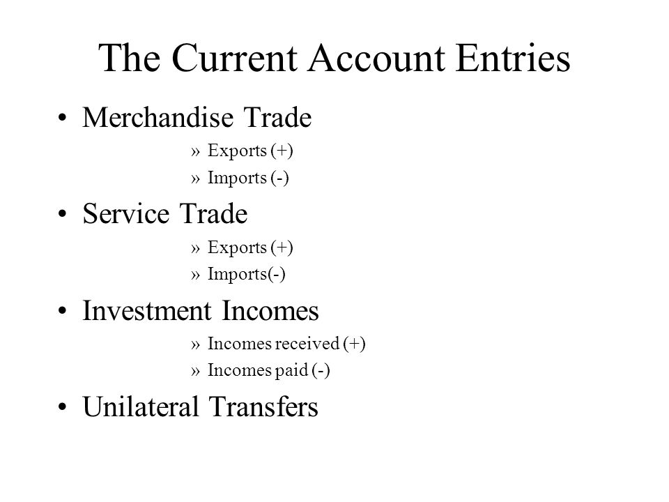 Capital Accounts Entries Unofficial Capital Transactions »Purchase (or sale) of foreign assets (Direct and indirect) »Purchase (or sale) of home assets by foreign residents (Direct and indirect) US Official Accounts US Assets »Gold reserves »FX reserves (deposits) »SDRs Foreign Official Assets in the US (US liabilities) »US government securities held by foreign officials »US Treasury bills held by foreign officials »Other foreign official assets in the US »Other liabilities to foreign official