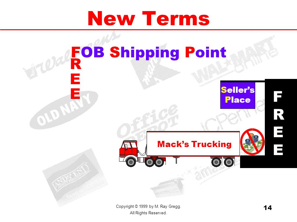 Copyright © 1999 by M. Ray Gregg. All Rights Reserved. 14 New Terms FOB Shipping Point Seller's Place Mack's Trucking FREEFREE REEREE