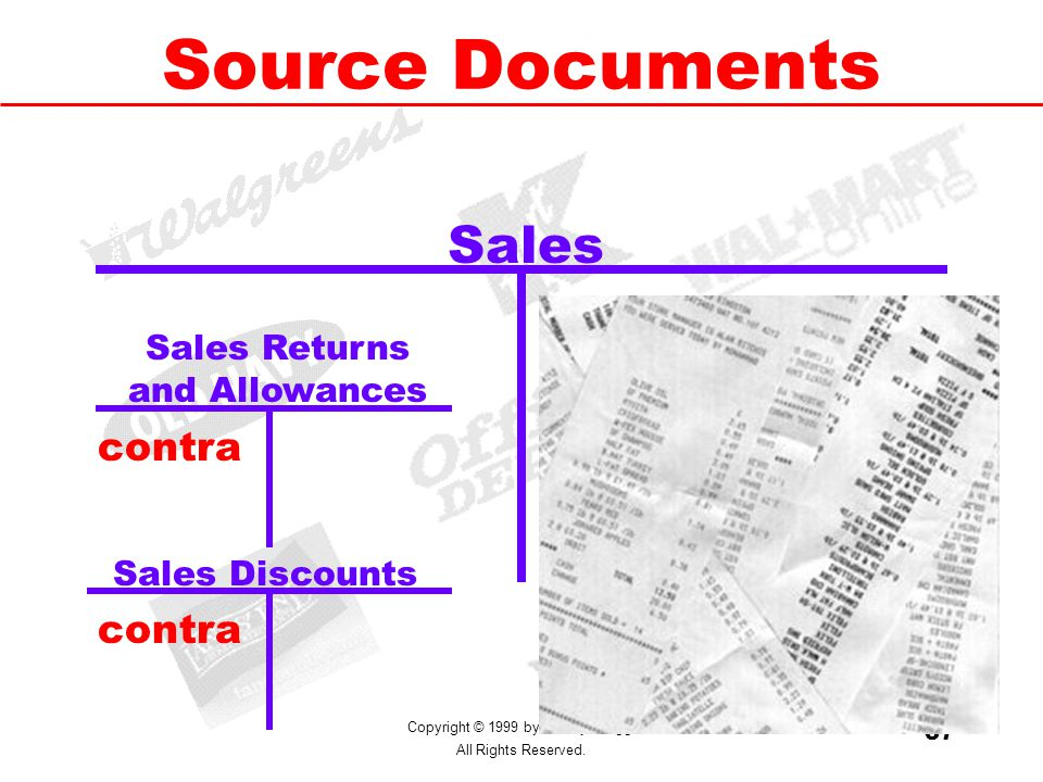 Copyright © 1999 by M. Ray Gregg. All Rights Reserved. 37 Source Documents Sales retail Sales Returns and Allowances Sales Discounts contra