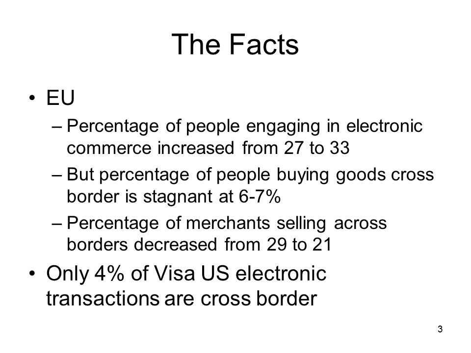 3 The Facts EU –Percentage of people engaging in electronic commerce increased from 27 to 33 –But percentage of people buying goods cross border is stagnant at 6-7% –Percentage of merchants selling across borders decreased from 29 to 21 Only 4% of Visa US electronic transactions are cross border