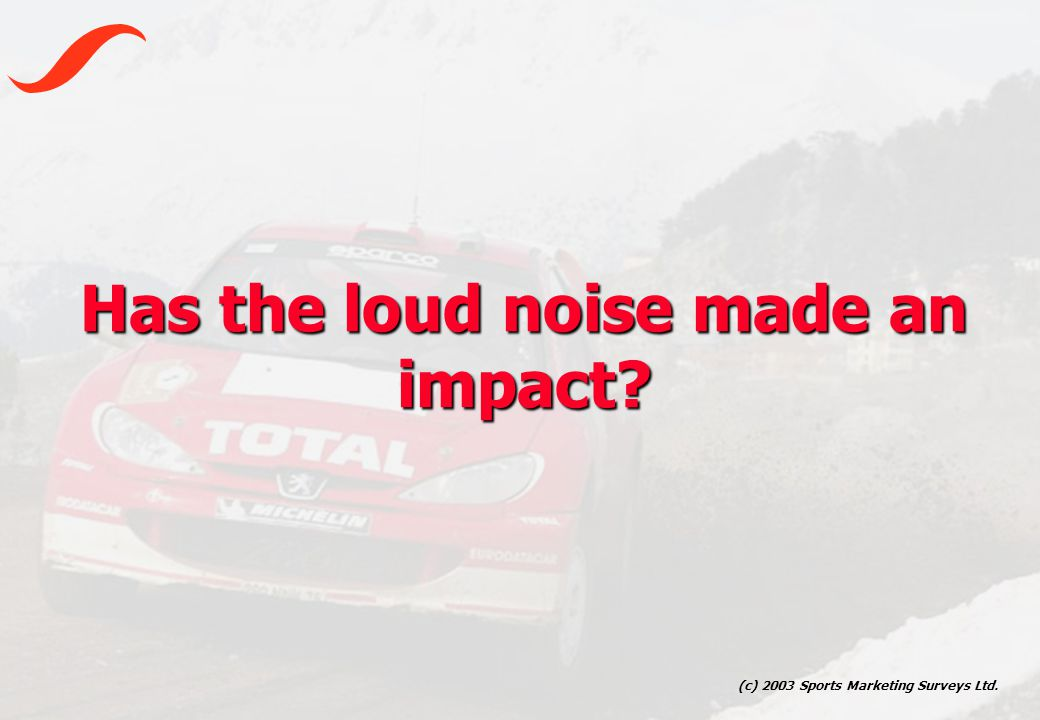 (c) 2003 Sports Marketing Surveys Ltd. Has the loud noise made an impact