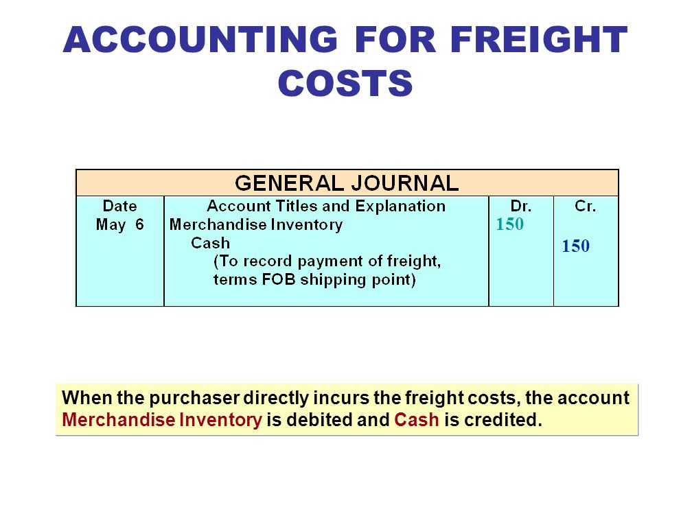 Merchandise Inventory is debited if buyer pays freight. Freight-out (or Delivery Expense) is debited if seller pays freight. ACCOUNTING FOR FREIGHT CO