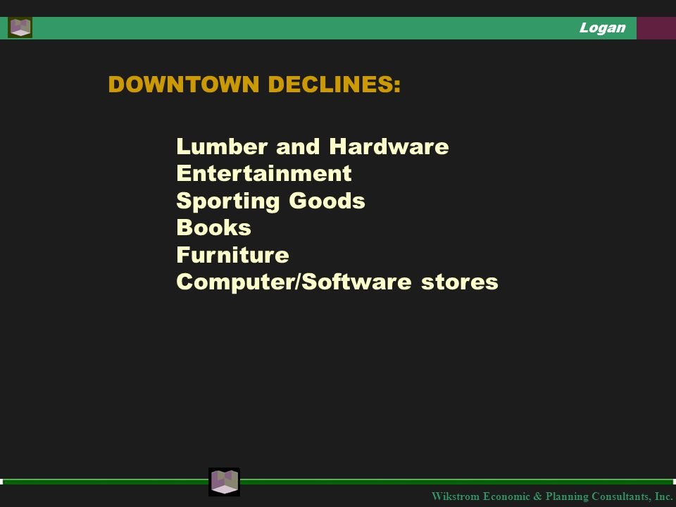 Wikstrom Economic & Planning Consultants, Inc. Logan DOWNTOWN DECLINES: Lumber and Hardware Entertainment Sporting Goods Books Furniture Computer/Soft
