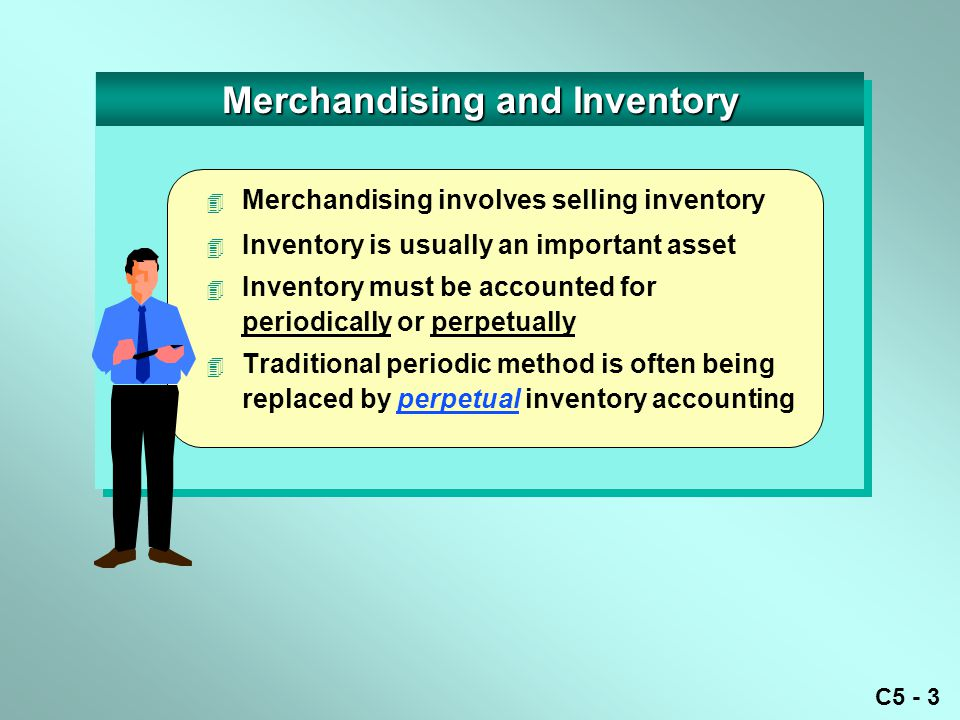 C5 - 3 Merchandising and Inventory  Merchandising involves selling inventory  Inventory is usually an important asset 4 Inventory must be accounted