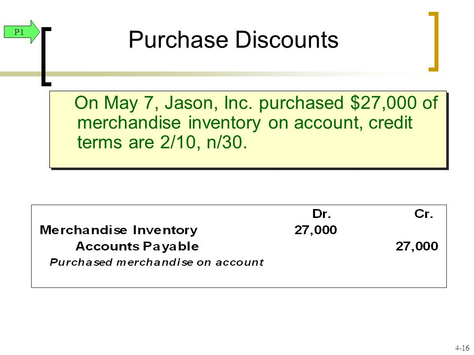Purchase Discounts On May 7, Jason, Inc. purchased $27,000 of merchandise inventory on account, credit terms are 2/10, n/30. P1 4-16