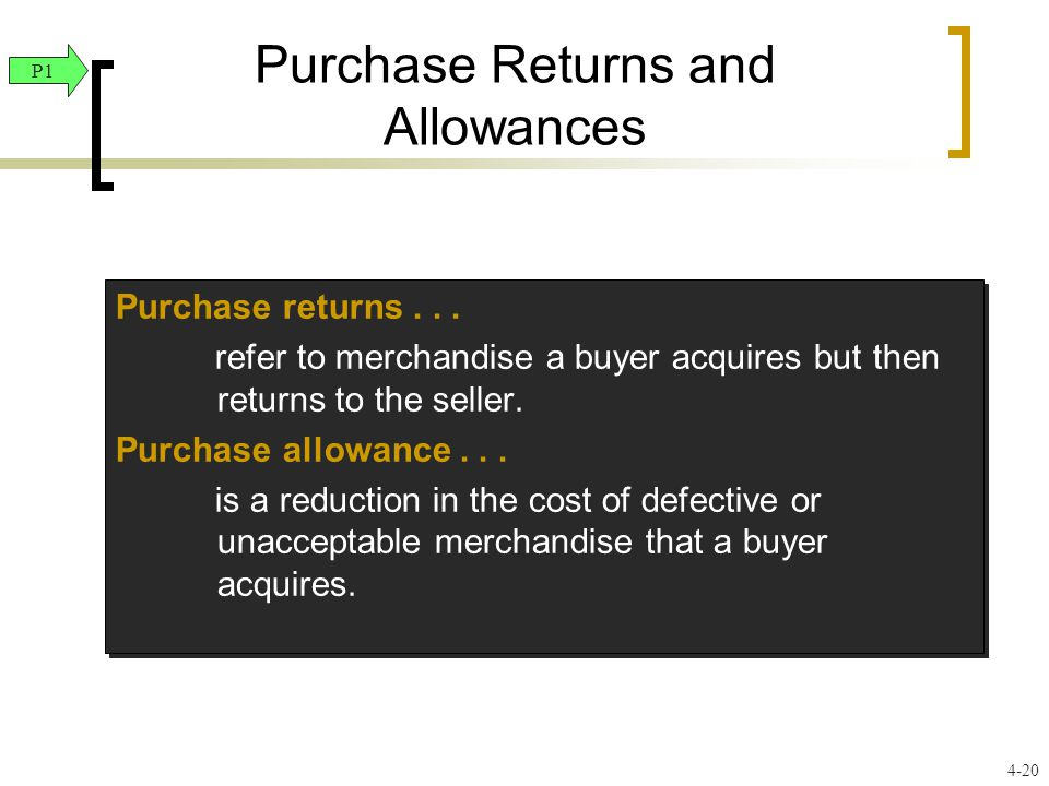Purchase Returns and Allowances Purchase returns... refer to merchandise a buyer acquires but then returns to the seller. Purchase allowance... is a r