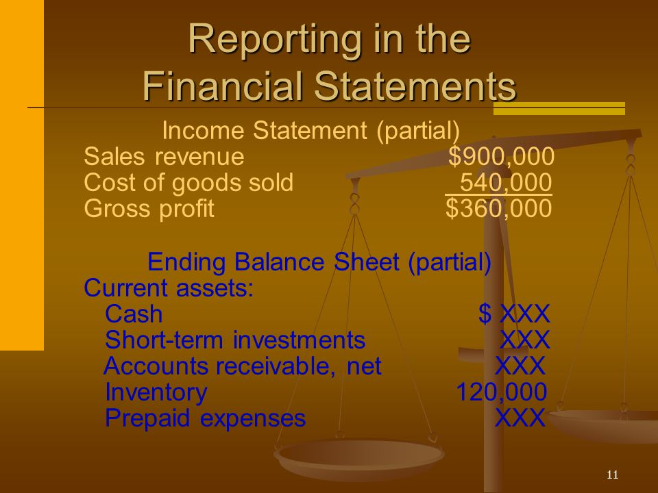 11 Reporting in the Financial Statements Income Statement (partial) Sales revenue $900,000 Cost of goods sold 540,000 Gross profit$360,000 Ending Bala