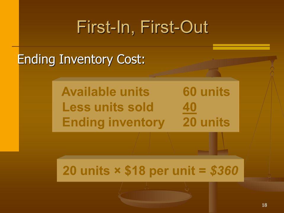 18 Available units60 units Less units sold40 Ending inventory20 units First-In, First-Out Ending Inventory Cost: 20 units × $18 per unit = $360