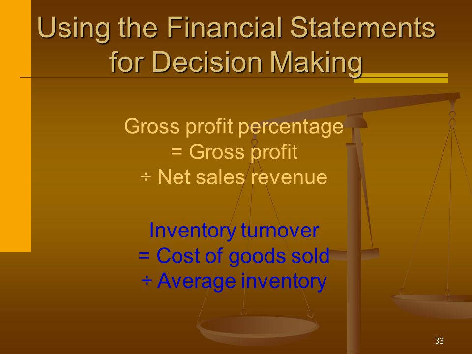 33 Inventory turnover = Cost of goods sold ÷ Average inventory Gross profit percentage = Gross profit ÷ Net sales revenue Using the Financial Statemen