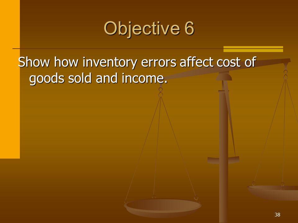 38 Objective 6 Show how inventory errors affect cost of goods sold and income.
