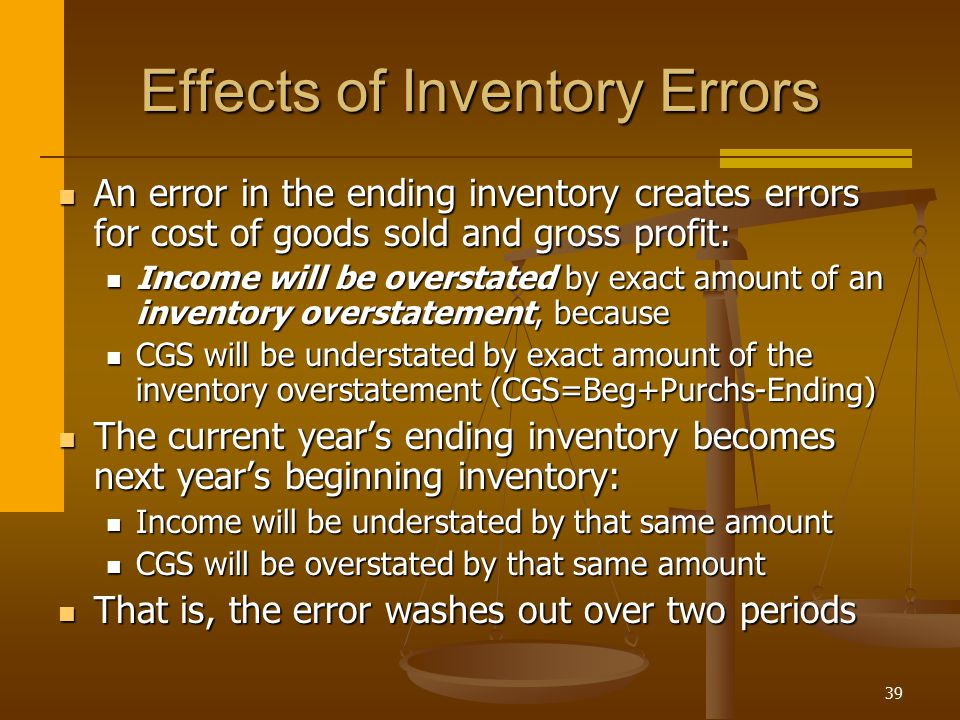 39 Effects of Inventory Errors An error in the ending inventory creates errors for cost of goods sold and gross profit: An error in the ending invento