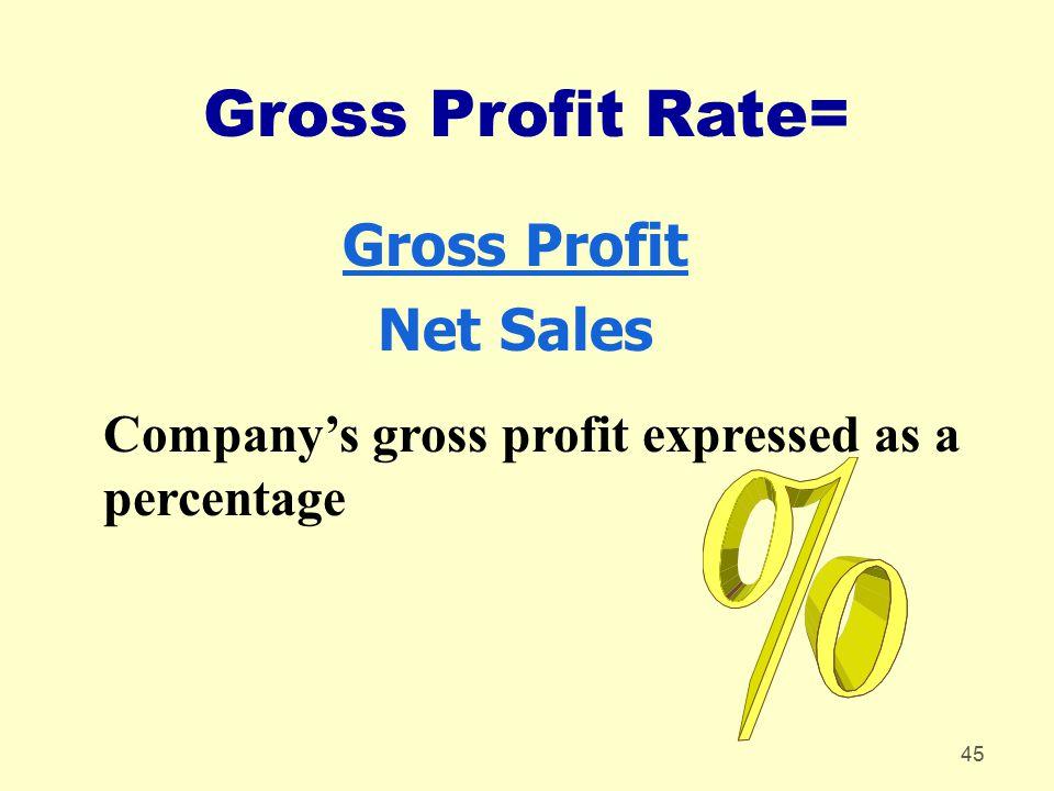 45 Gross Profit Rate= Gross Profit Net Sales Company's gross profit expressed as a percentage
