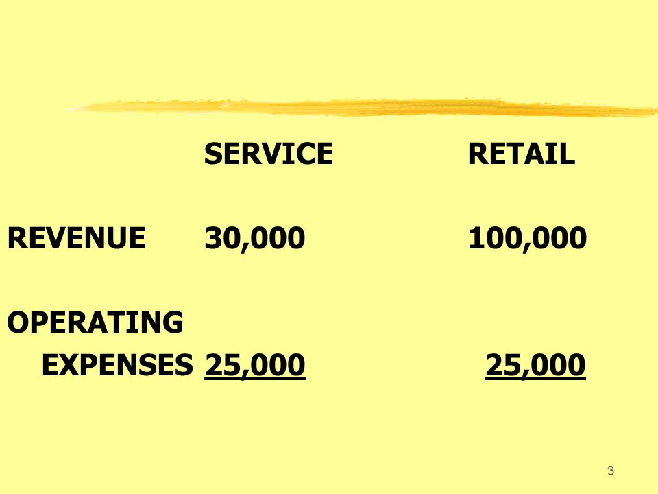 3 SERVICERETAIL REVENUE30,000100,000 OPERATING EXPENSES25,000 25,000
