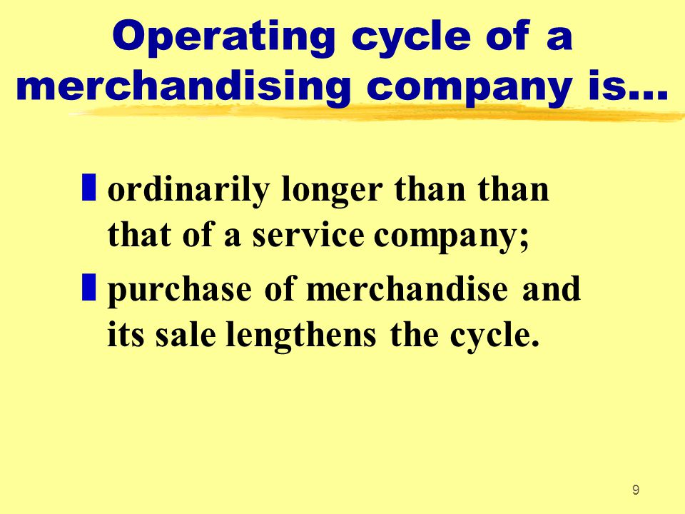 9 Operating cycle of a merchandising company is...