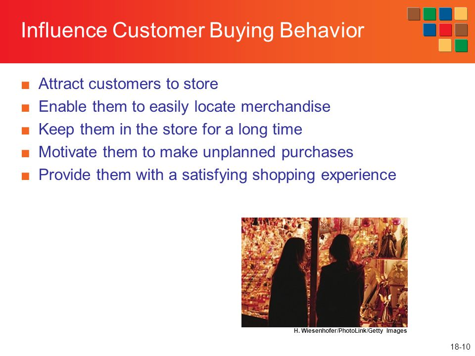 18-10 Influence Customer Buying Behavior ■Attract customers to store ■Enable them to easily locate merchandise ■Keep them in the store for a long time