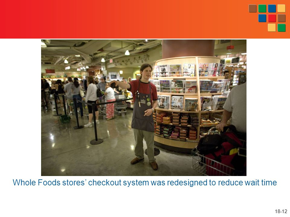 18-12 Whole Foods stores' checkout system was redesigned to reduce wait time