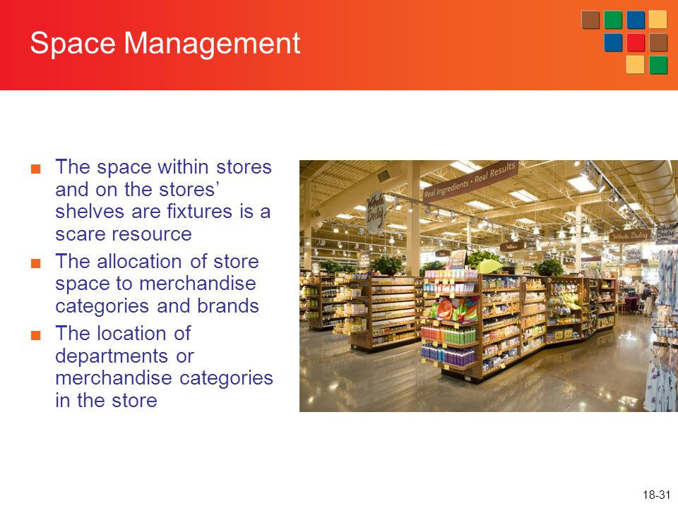 18-31 Space Management ■The space within stores and on the stores' shelves are fixtures is a scare resource ■The allocation of store space to merchand