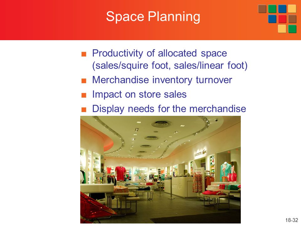 18-32 Space Planning ■Productivity of allocated space (sales/squire foot, sales/linear foot) ■Merchandise inventory turnover ■Impact on store sales ■D