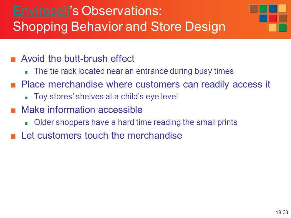 18-33 EnvirosellEnvirosell's Observations: Shopping Behavior and Store Design ■Avoid the butt-brush effect The tie rack located near an entrance durin