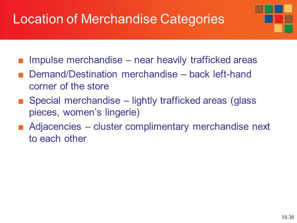 18-36 Location of Merchandise Categories ■Impulse merchandise – near heavily trafficked areas ■Demand/Destination merchandise – back left-hand corner