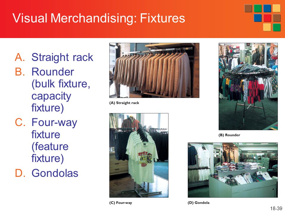 18-39 Visual Merchandising: Fixtures A.Straight rack B.Rounder (bulk fixture, capacity fixture) C.Four-way fixture (feature fixture) D.Gondolas