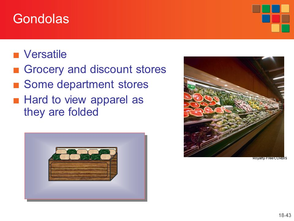 18-43 Gondolas ■Versatile ■Grocery and discount stores ■Some department stores ■Hard to view apparel as they are folded Royalty-Free/CORBIS