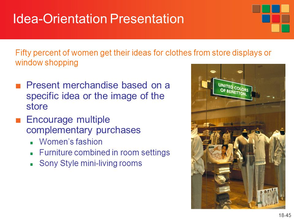 18-45 Idea-Orientation Presentation ■Present merchandise based on a specific idea or the image of the store ■Encourage multiple complementary purchase
