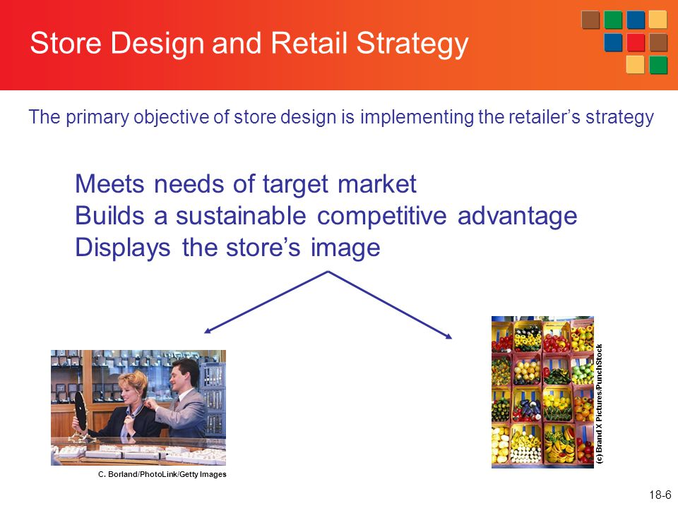 18-6 Store Design and Retail Strategy The primary objective of store design is implementing the retailer's strategy (c) Brand X Pictures/PunchStock C.