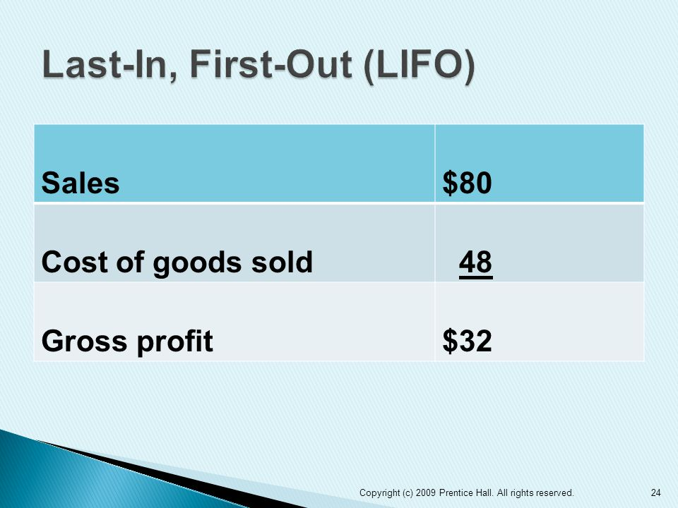 Sales$80 Cost of goods sold 48 Gross profit$32 Copyright (c) 2009 Prentice Hall.