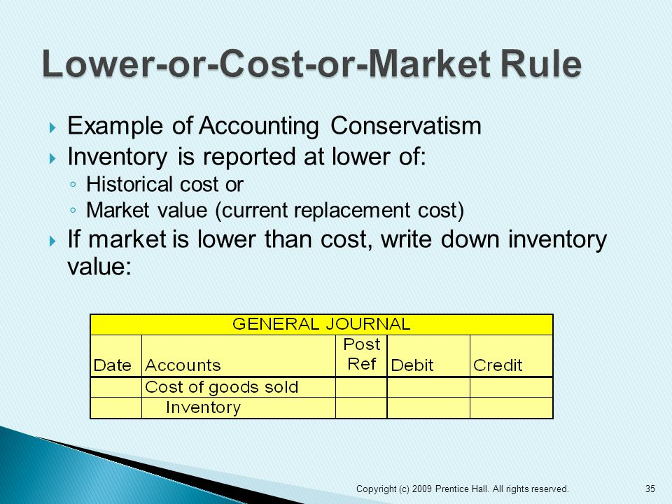  Example of Accounting Conservatism  Inventory is reported at lower of: ◦ Historical cost or ◦ Market value (current replacement cost)  If market is lower than cost, write down inventory value: Copyright (c) 2009 Prentice Hall.