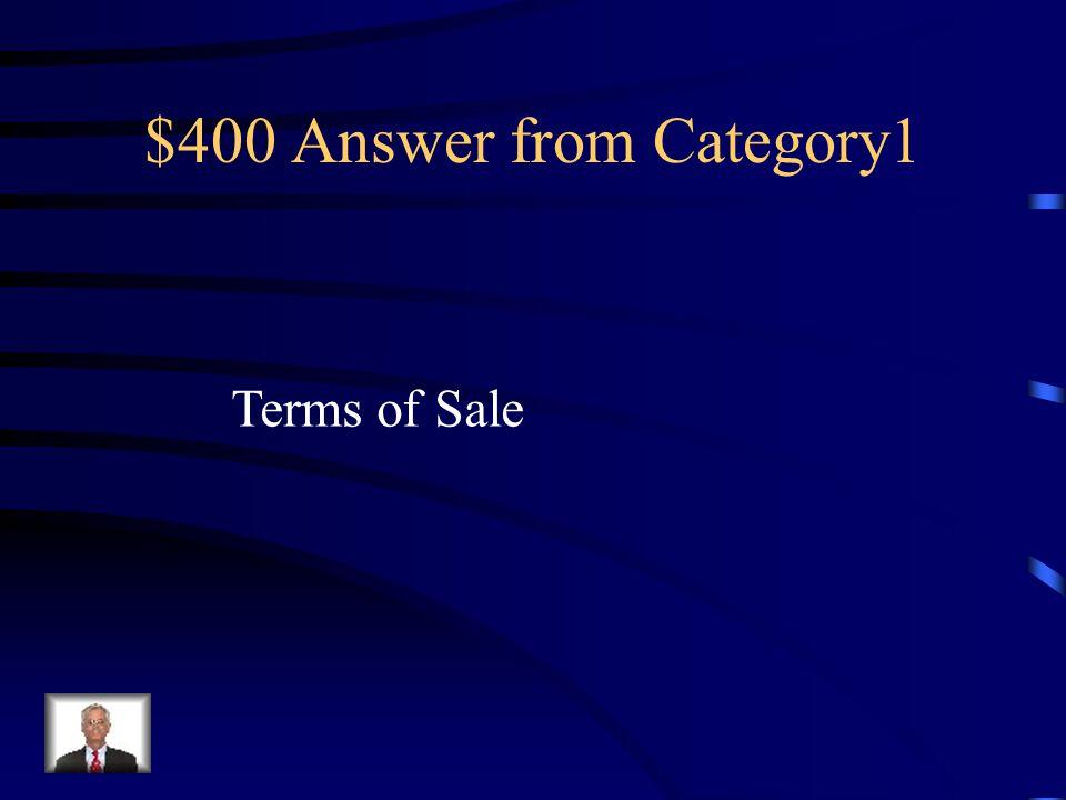 $400 Answer from Category 4 Debit Memorandum