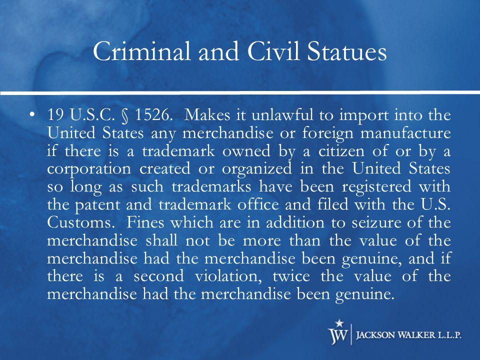 Criminal and Civil Statues 18 U.S.C.§ 2320.