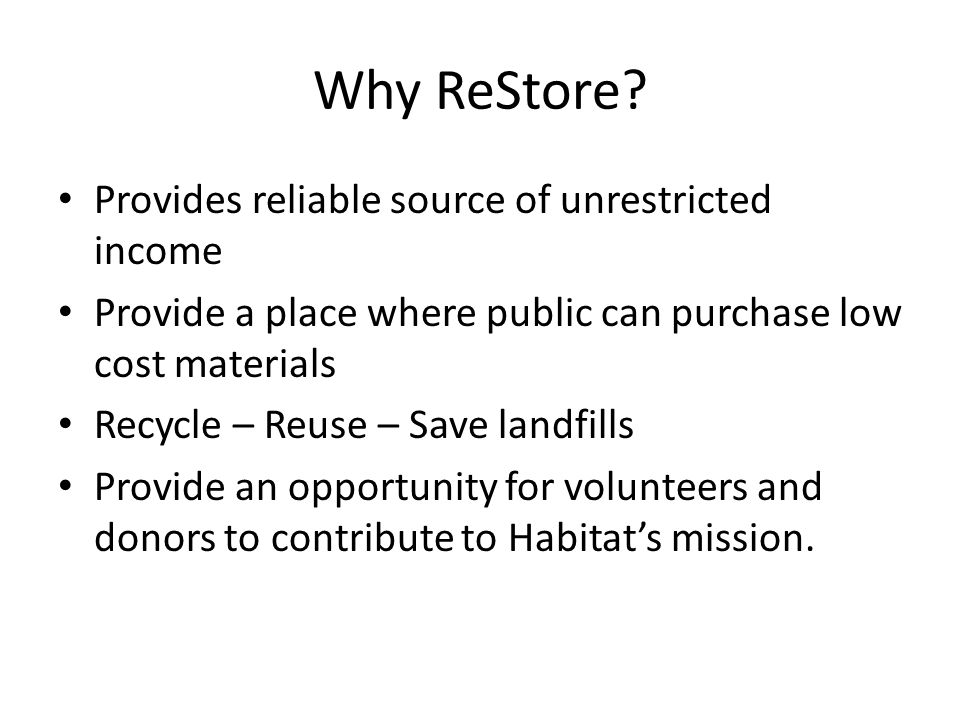 Why ReStore.