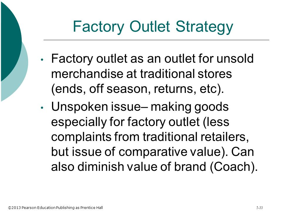 ©2013 Pearson Education Publishing as Prentice Hall 5-33 Factory Outlet Strategy Factory outlet as an outlet for unsold merchandise at traditional sto